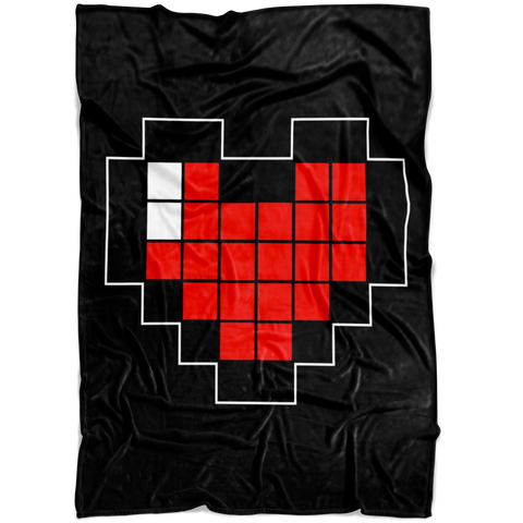 Pixelated Heart Fleece Blanket