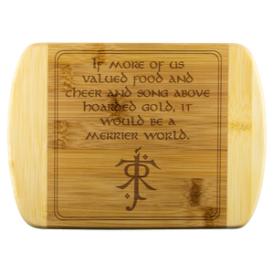 LOTR Merrier World Laser Etched Bamboo Cutting Board