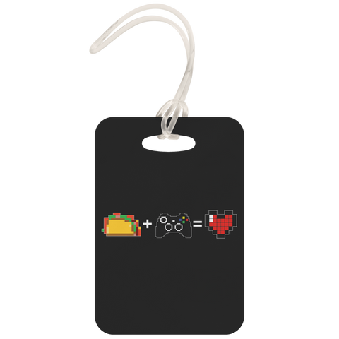 Food + Xbox = Love Metal Luggage Tag