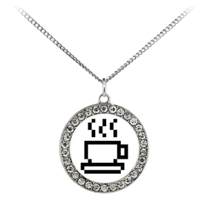 Coffee Lovers Pixel Art Stone Coin Necklace