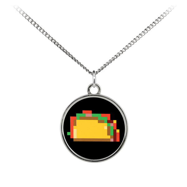 Pixelated Taco Standard Coin Necklace