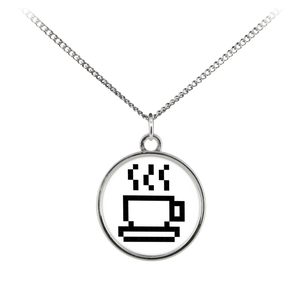 Coffee Lovers Pixel Art Standard Coin Necklace