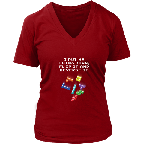 Tetris Falling Blocks Put My Thing Down Women's V-Neck T-Shirt