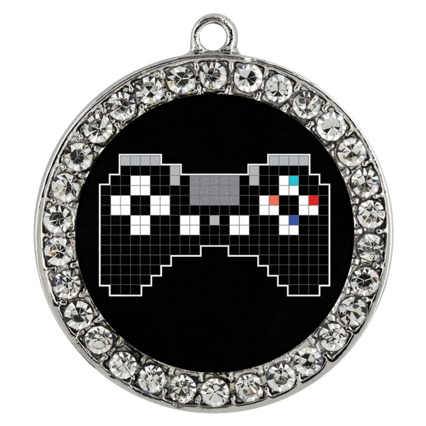 Pixel Art Playstation Gaming Fan Stone Coin Necklace