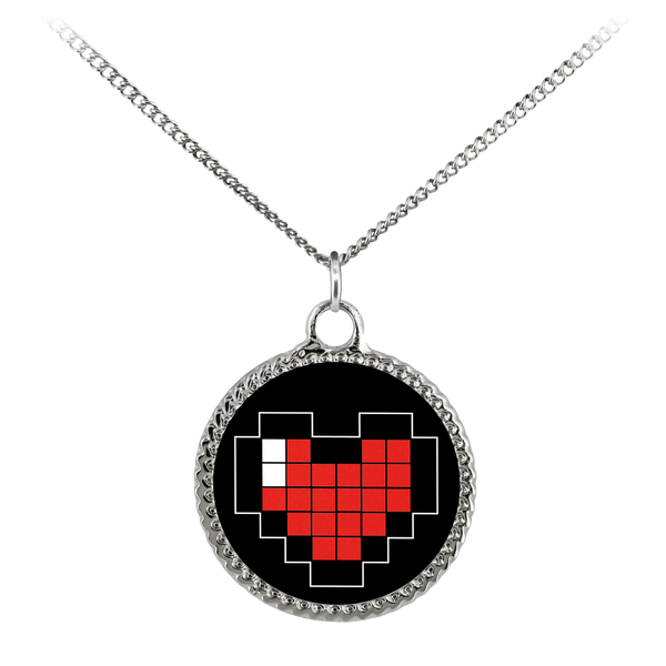 Pixelated Heart Deco Coin Necklace