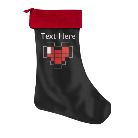Personalized Pixelated Heart Christmas Stocking