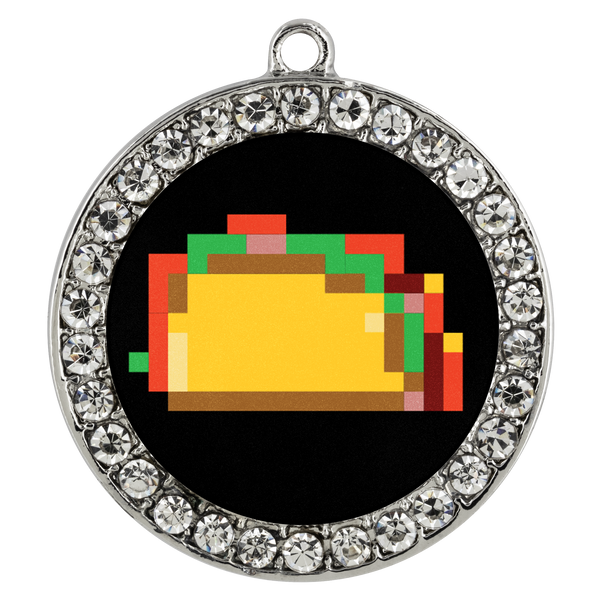 Pixelated Taco Stone Coin Necklace