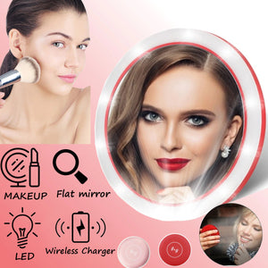 Portable LED Cosmetic Mirror With Wireless Charger (2 in 1)