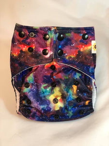 Happy Flute Customs- Black Galaxy Pocket Diaper