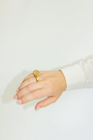 Hattie Dome Signet Ring in Gold
