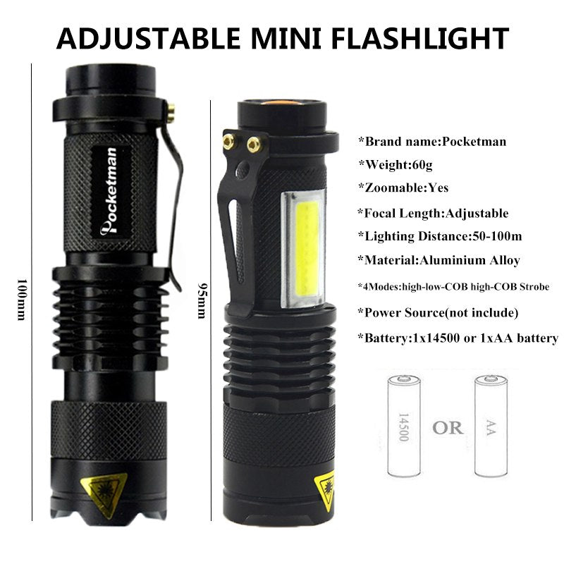 3800LM XML-Q5+COB LED Flashlight Portable Mini ZOOM Torch Tactical  Flashlight Use AA 14500 Battery Waterproof Lighting lantern