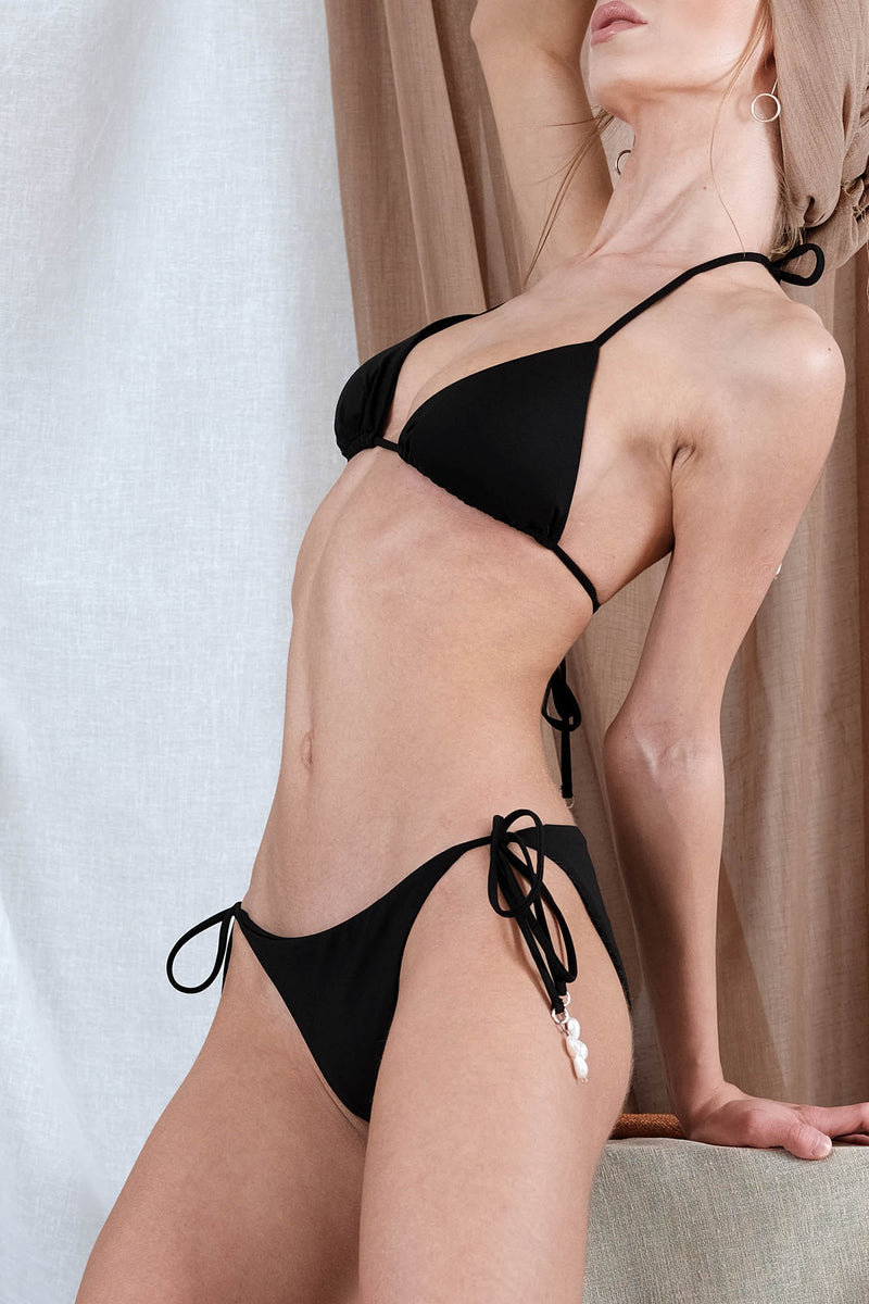AKTAIA Bikini in Black with Pearl Precious Stone