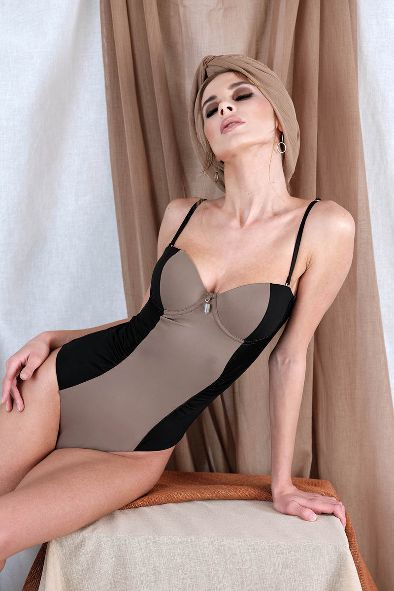 ERATO One Piece in Taupe with Labradorite Precious Stone