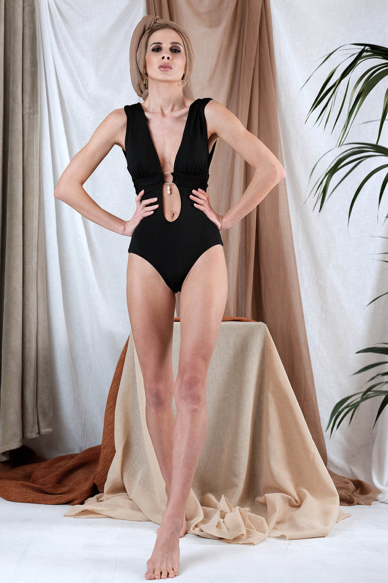 KLIMENI One Piece in Black with Pearl Precious Stone