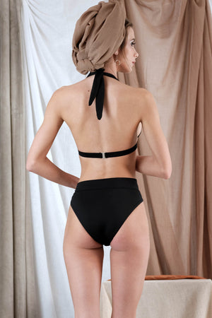 MELITI Bikini in Black with Pearl Precious Stone