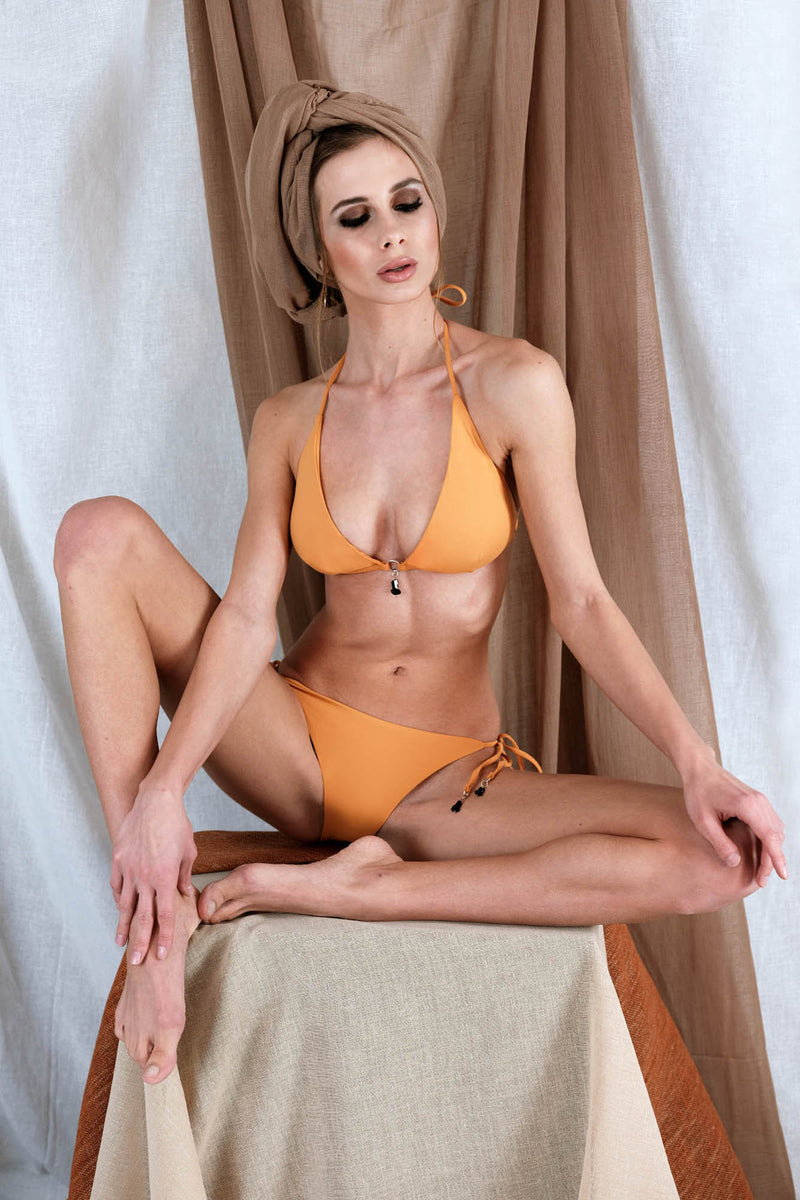 THEMISTO Bikini in Orange with Tourmaline Precious Stone