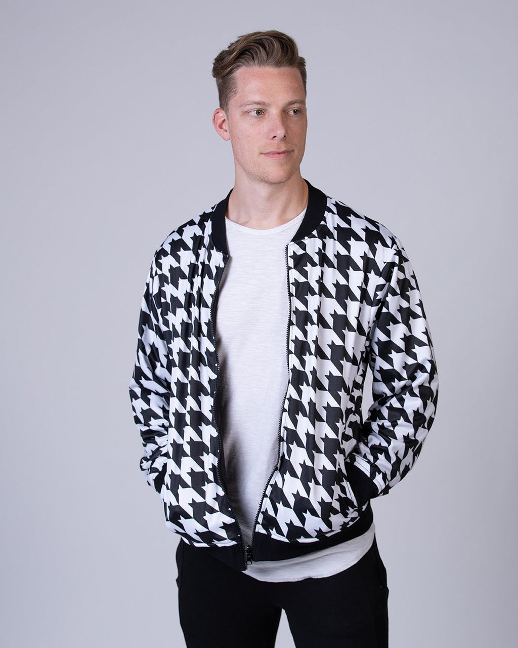 Houndstooth Reversible Bomber Jacket