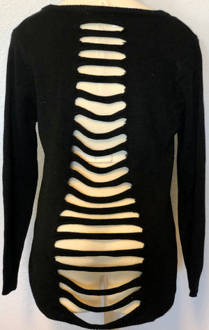 LASER CUT BACK SWEATER