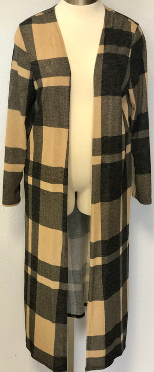 LONG LS PLAID CARDIGAN
