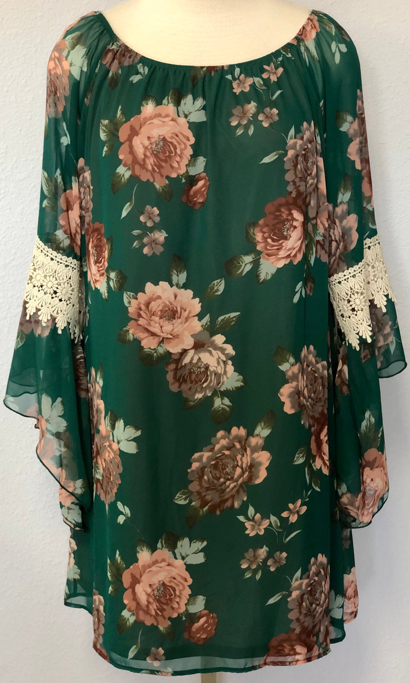SHEER SLEEVE  FLORAL SHIFT DRESS