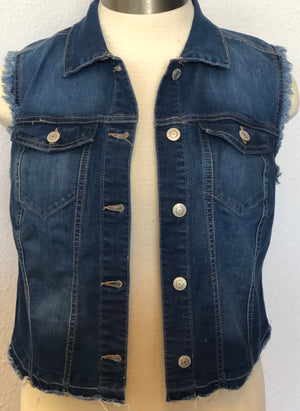 PLUS DENIM WAIST LENGTH VEST