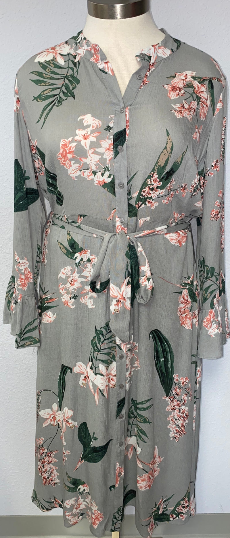 LS FLORAL MAXI SHIRT DRESS