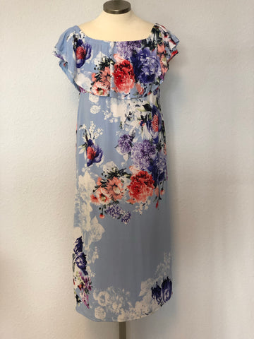 K FLORAL OFF SHOULDER MAXI DRESS