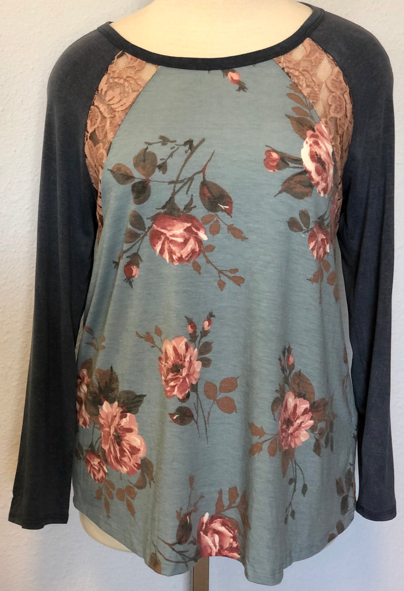 FLORAL RAGLAN LACE TOP