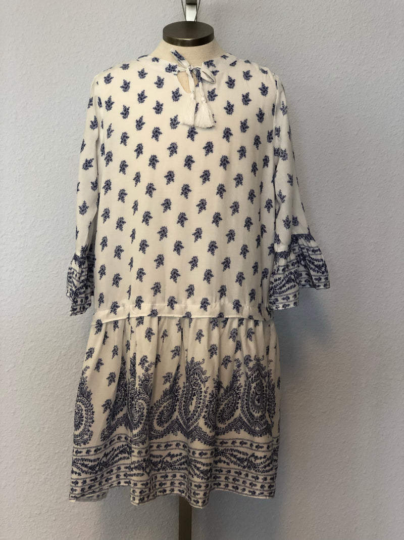 K PAISLEY BELL SLEEVE DRESS
