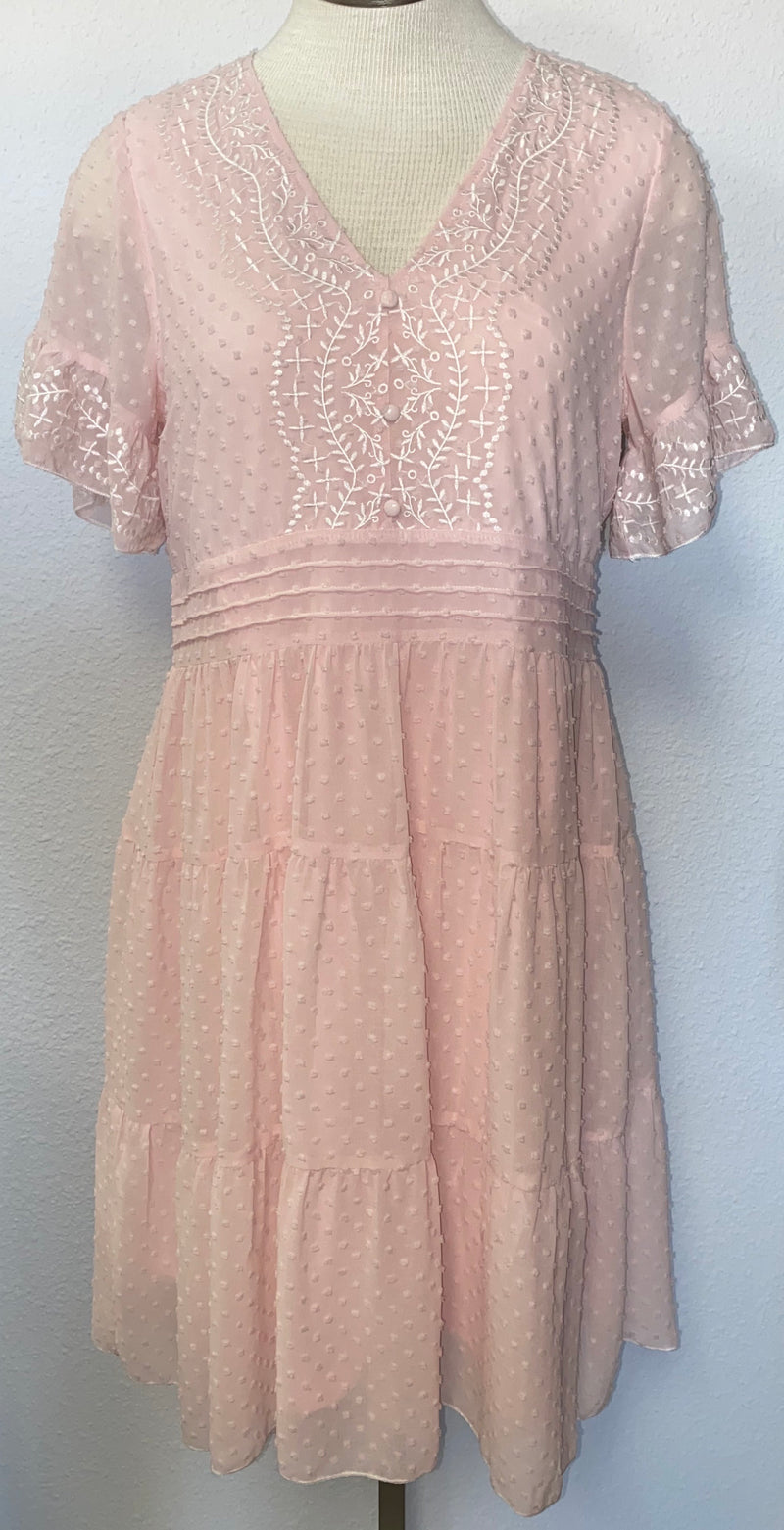 BABYDOLL EMBROIDERED V-NECK DRESS