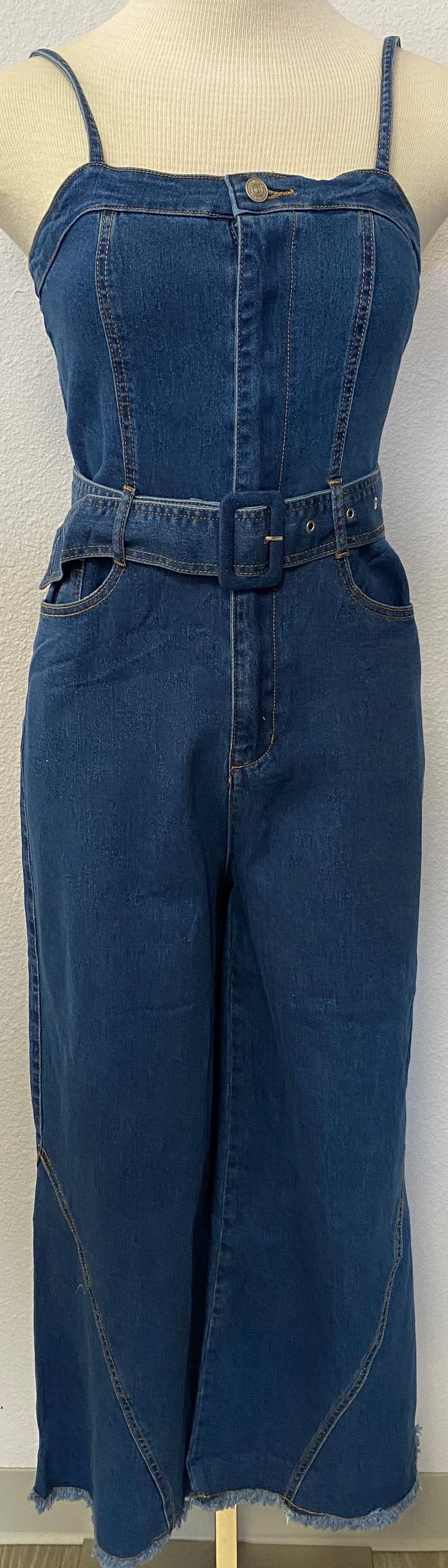 WASHED DENIM BOOTCUT JUMPUIT
