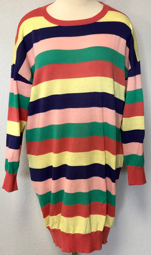 STRIPED LS SWEATER DRESS