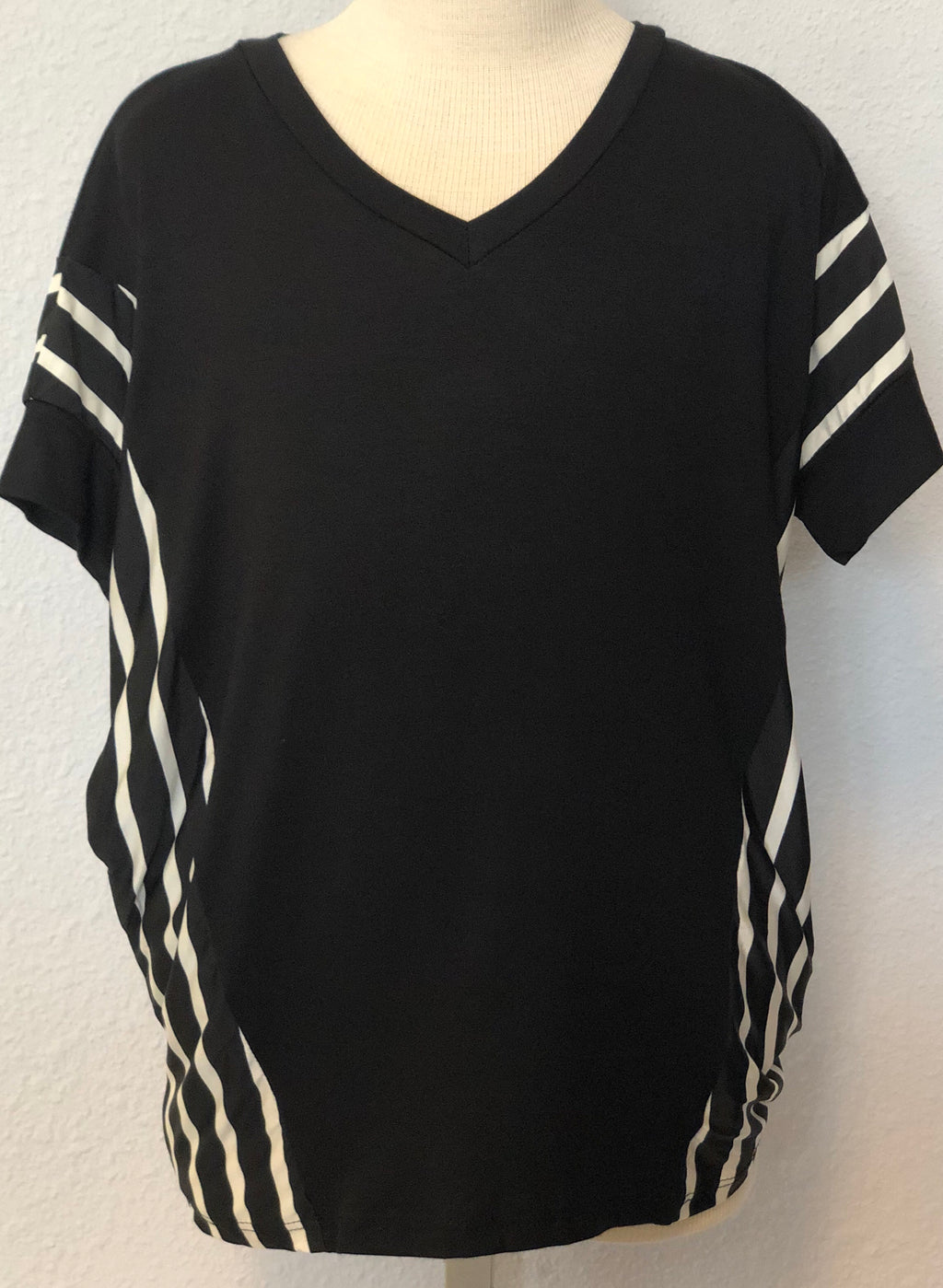 K SOLID STRIPED TUNIC TOP
