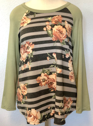 RAGLAN FLORAL STRIPE TOP