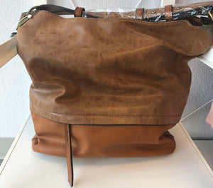 BUCKET HANDBAG WITH DISTRESSED TRIM