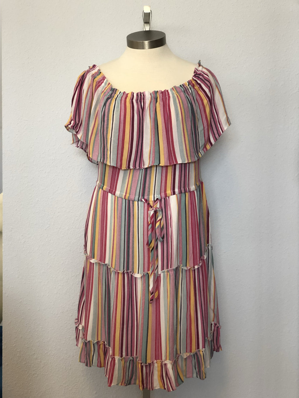 MULTI-COLORED OFF-SHOULDER DRESS