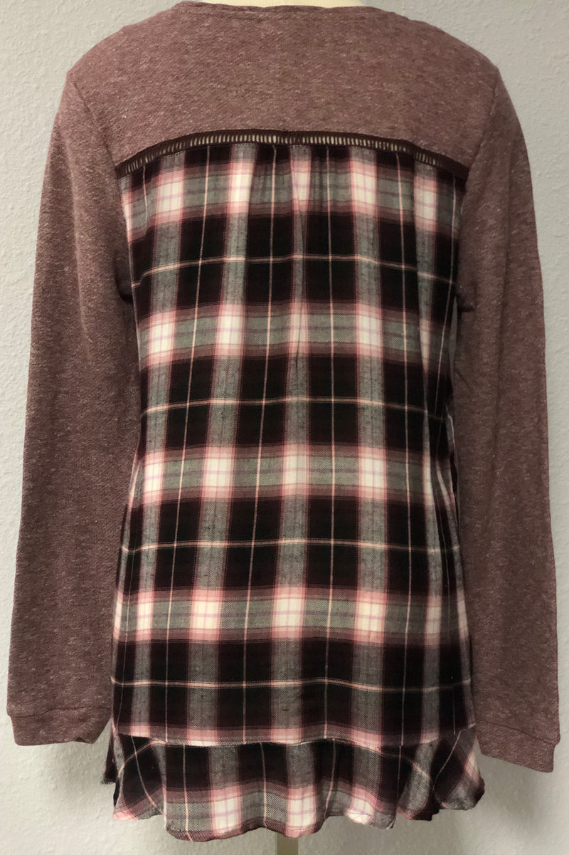 PLAID BACK SWEATER