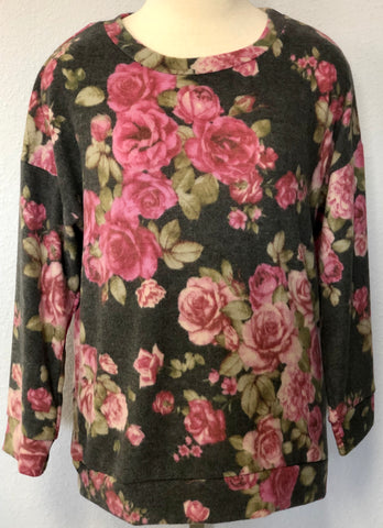 HACCI KNIT FLORAL LS SWEATER
