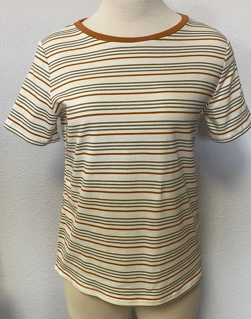 STRIPED SHORT TEE TOP