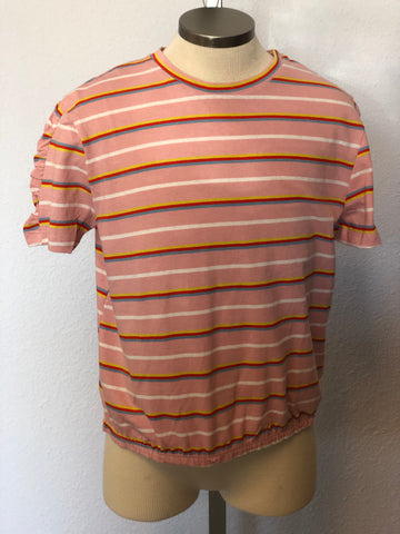 K STRIPE BUBBLE HEM TEE