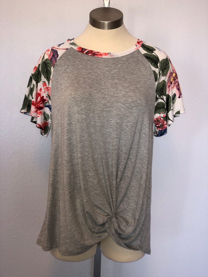 FLORAL PRINT SHORT SLEEVE TOP