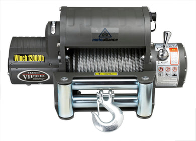 VIPER 12,000lb Recovery Winch - 85ft STEEL Cable