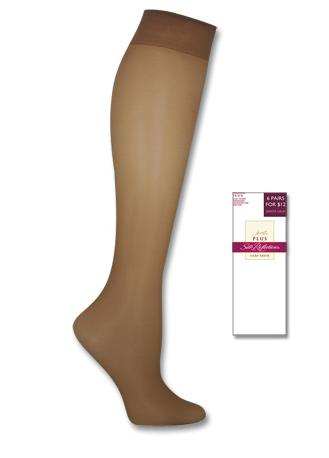 Hanes Silk Reflections Plus Knee Highs Enhanced Toe 2 pair pack