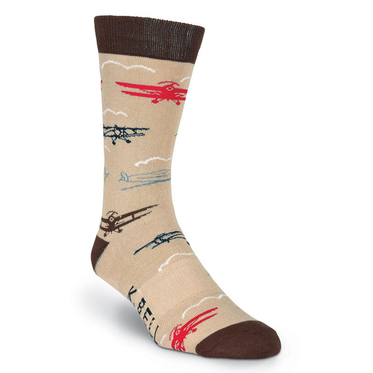 K. Bell Mens Planes Crew Socks - American Made