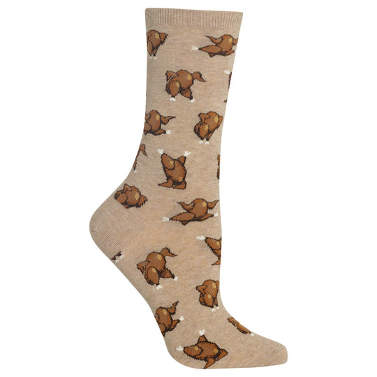 Hot Sox Womens Dancing Turkeys Crew Socks