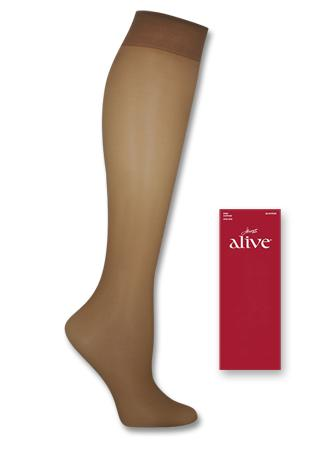ONE SIZE 2-Pack Hanes Alive Full Support Sheer Knee Highs 4 COLORS