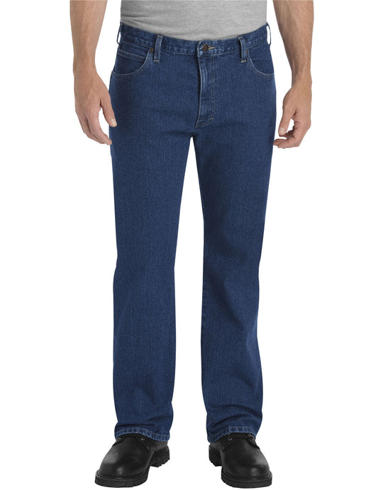 Dickies Mens FLEX Relaxed Fit Straight Leg 5-Pocket Denim Jeans