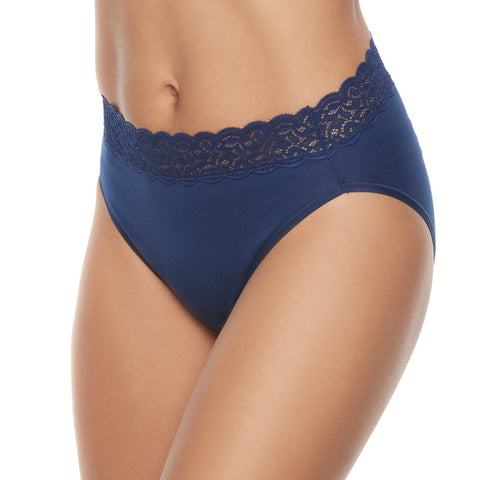 Vanity Fair Womens Flattering Lace Cotton Stretch Hi Cut Panty