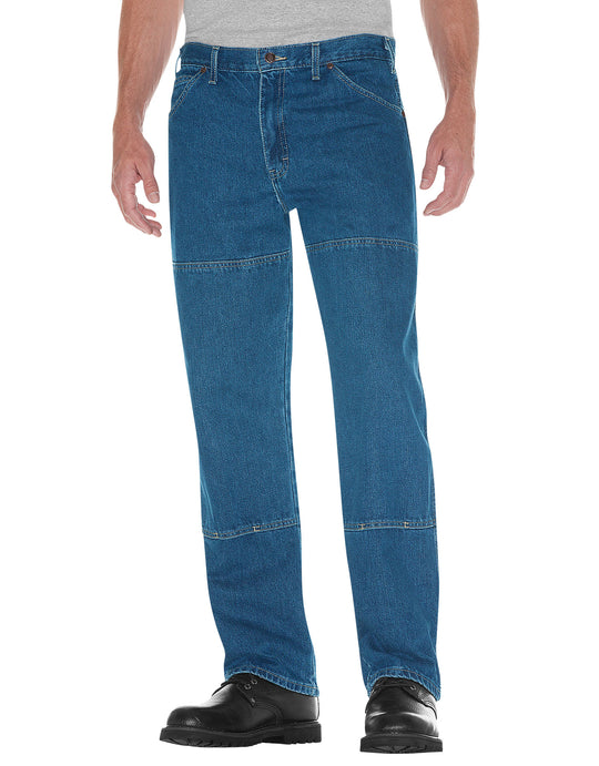 Dickies Mens Relaxed Fit Workhorse Double Knee Denim Jeans Stonewashed