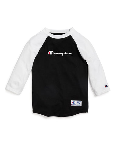 Champion Kids Baseball Tee, L, Black/White